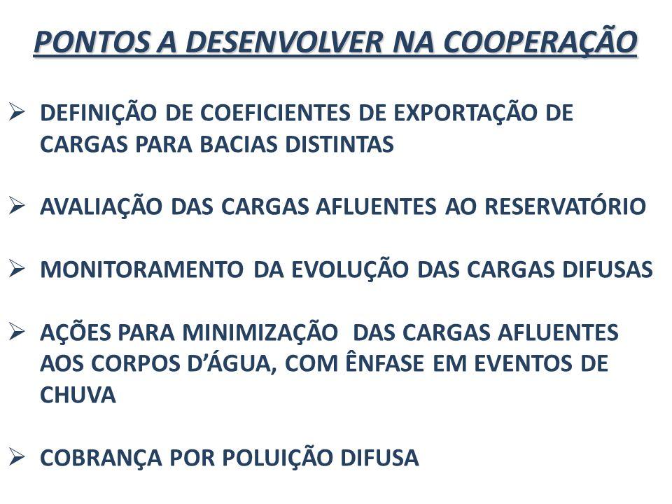 PONTOS A DESENVOLVER NA COOPERAÇÃO DEFINIÇÃO DE COEFICIENTES DE EXPORTAÇÃO DE CARGAS PARA BACIAS DISTINTAS AVALIAÇÃO DAS CARGAS AFLUENTES AO RESERVATÓ