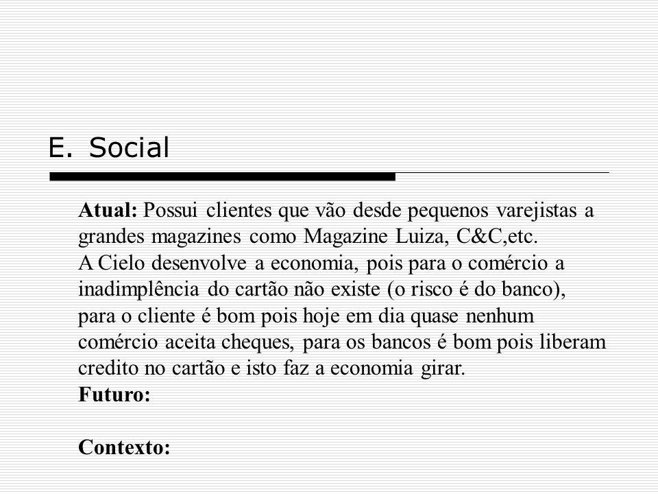 E.Social Atual: Possui clientes que vão desde pequenos varejistas a grandes magazines como Magazine Luiza, C&C,etc. A Cielo desenvolve a economia, poi