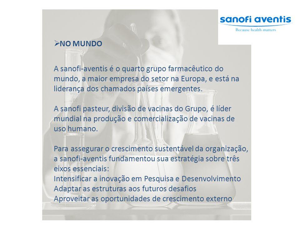 NO MUNDO A sanofi-aventis é o quarto grupo farmacêutico do mundo, a maior empresa do setor na Europa, e está na liderança dos chamados países emergentes.