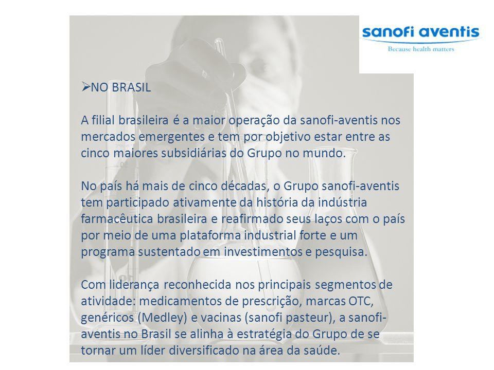 NO BRASIL A filial brasileira é a maior operação da sanofi-aventis nos mercados emergentes e tem por objetivo estar entre as cinco maiores subsidiárias do Grupo no mundo.