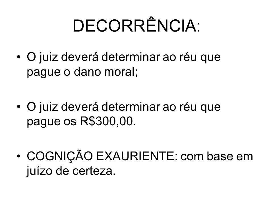 DECORRÊNCIA: O juiz deverá determinar ao réu que pague o dano moral; O juiz deverá determinar ao réu que pague os R$300,00. COGNIÇÃO EXAURIENTE: com b