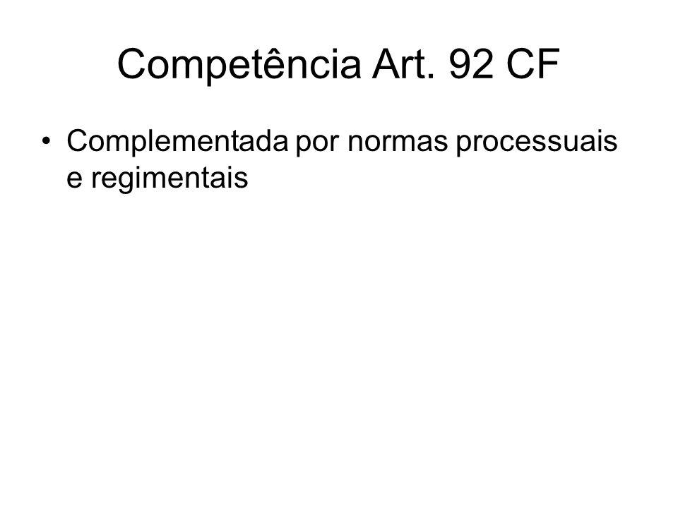 Competência Art. 92 CF Complementada por normas processuais e regimentais