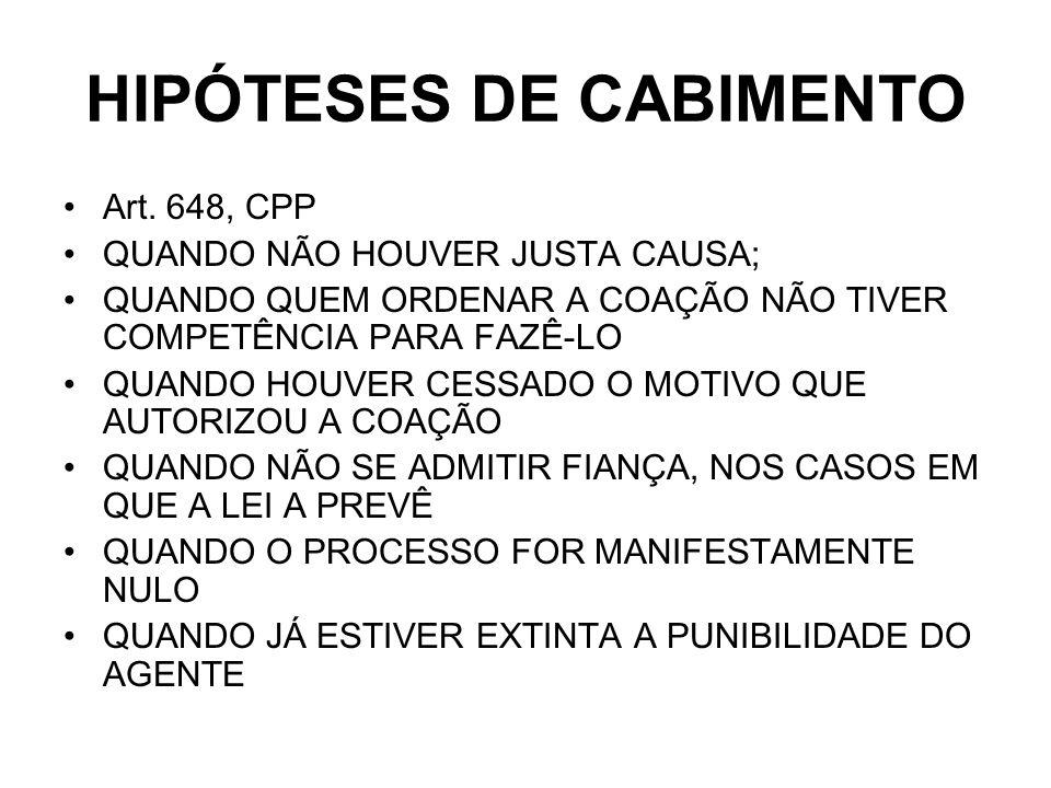 HIPÓTESES DE CABIMENTO Art.