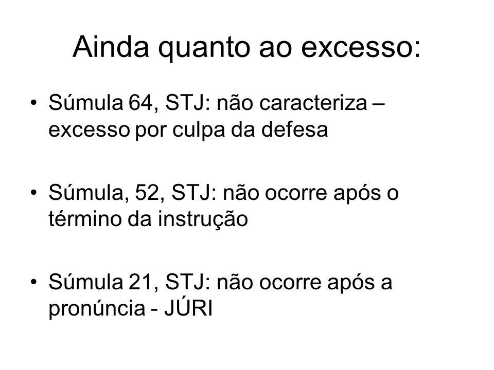 Ainda quanto ao excesso: Súmula 64, STJ: não caracteriza – excesso por culpa da defesa Súmula, 52, STJ: não ocorre após o término da instrução Súmula 21, STJ: não ocorre após a pronúncia - JÚRI