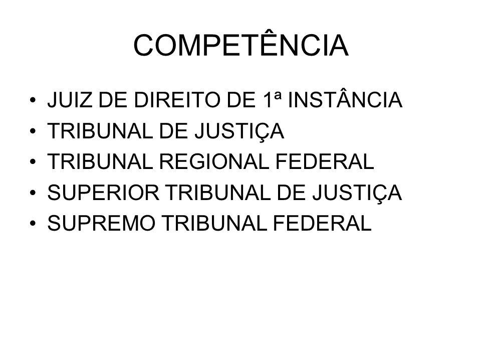 COMPETÊNCIA JUIZ DE DIREITO DE 1ª INSTÂNCIA TRIBUNAL DE JUSTIÇA TRIBUNAL REGIONAL FEDERAL SUPERIOR TRIBUNAL DE JUSTIÇA SUPREMO TRIBUNAL FEDERAL