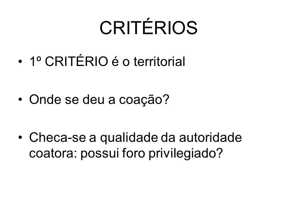 CRITÉRIOS 1º CRITÉRIO é o territorial Onde se deu a coação.
