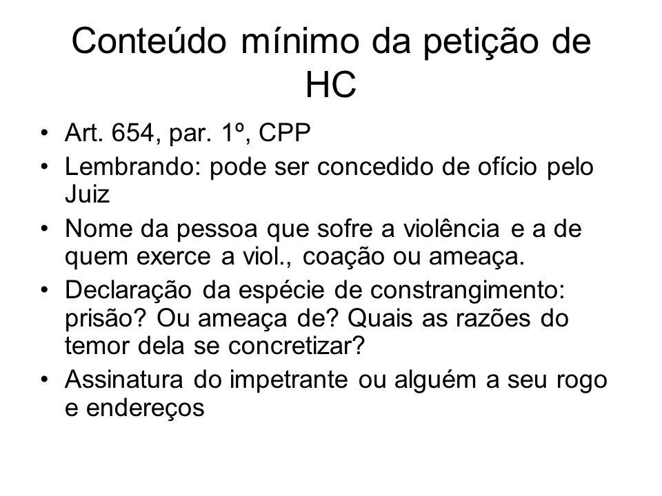 Conteúdo mínimo da petição de HC Art.654, par.