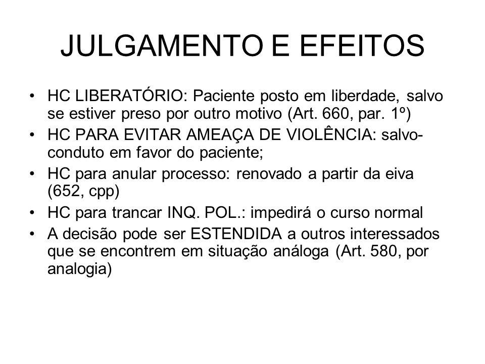 JULGAMENTO E EFEITOS HC LIBERATÓRIO: Paciente posto em liberdade, salvo se estiver preso por outro motivo (Art.