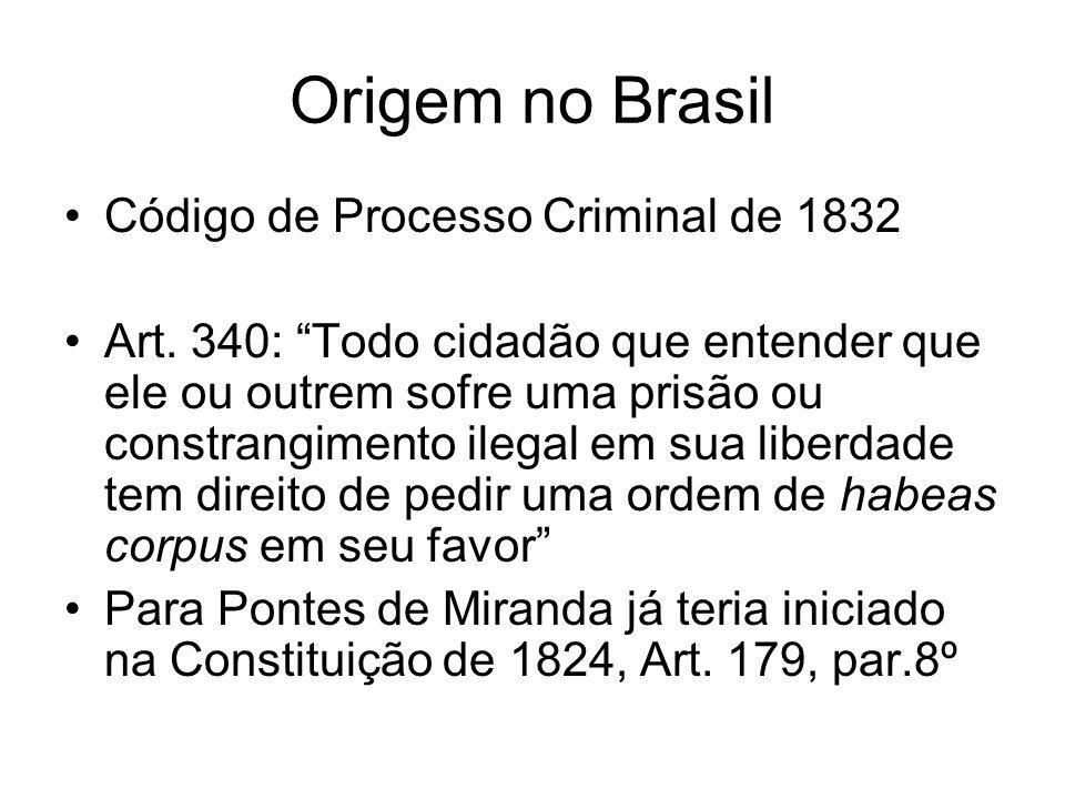 Origem no Brasil Código de Processo Criminal de 1832 Art.