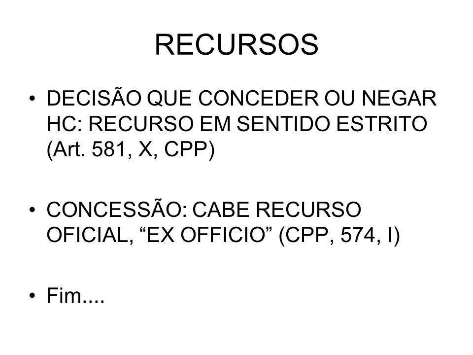 RECURSOS DECISÃO QUE CONCEDER OU NEGAR HC: RECURSO EM SENTIDO ESTRITO (Art.