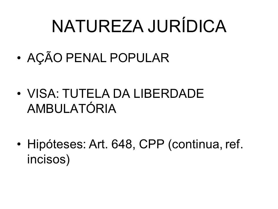 NATUREZA JURÍDICA AÇÃO PENAL POPULAR VISA: TUTELA DA LIBERDADE AMBULATÓRIA Hipóteses: Art.