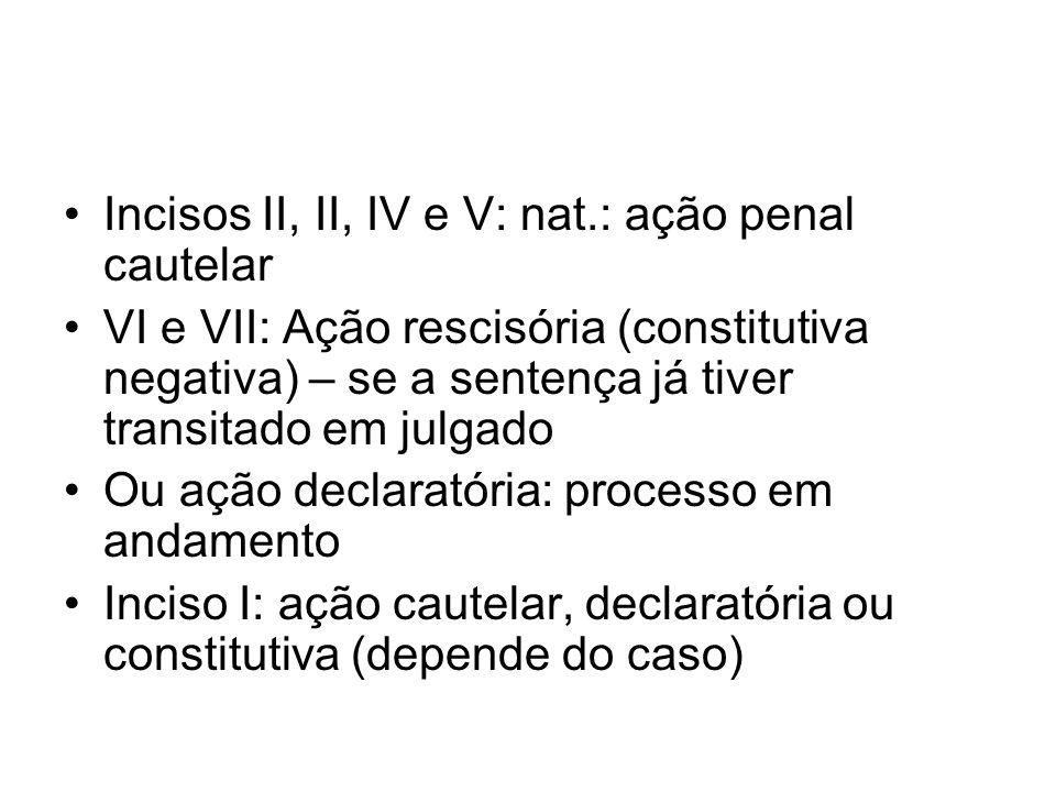 Incisos II, II, IV e V: nat.: ação penal cautelar VI e VII: Ação rescisória (constitutiva negativa) – se a sentença já tiver transitado em julgado Ou ação declaratória: processo em andamento Inciso I: ação cautelar, declaratória ou constitutiva (depende do caso)