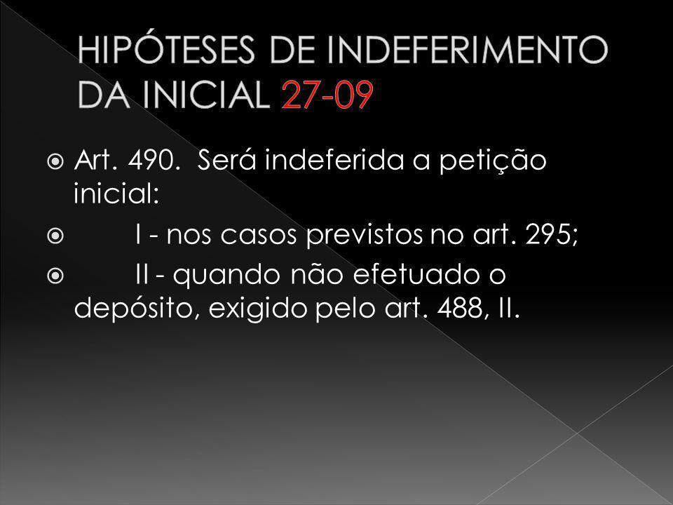 Art. 490. Será indeferida a petição inicial: I - nos casos previstos no art. 295; II - quando não efetuado o depósito, exigido pelo art. 488, II.
