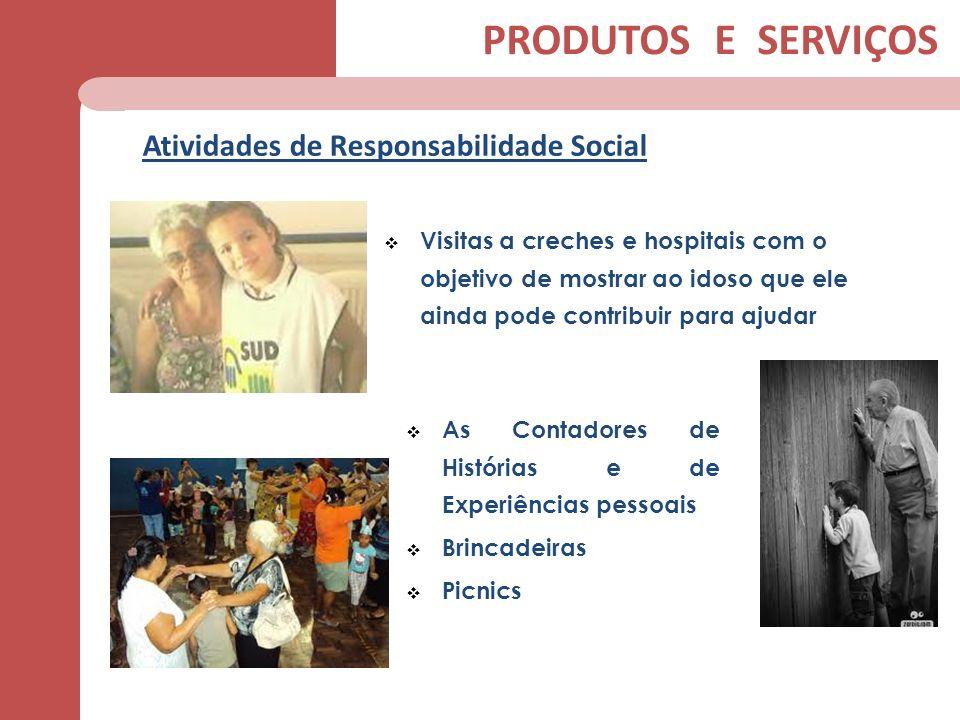 Atividades de Responsabilidade Social PRODUTOS E SERVIÇOS Visitas a creches e hospitais com o objetivo de mostrar ao idoso que ele ainda pode contribu
