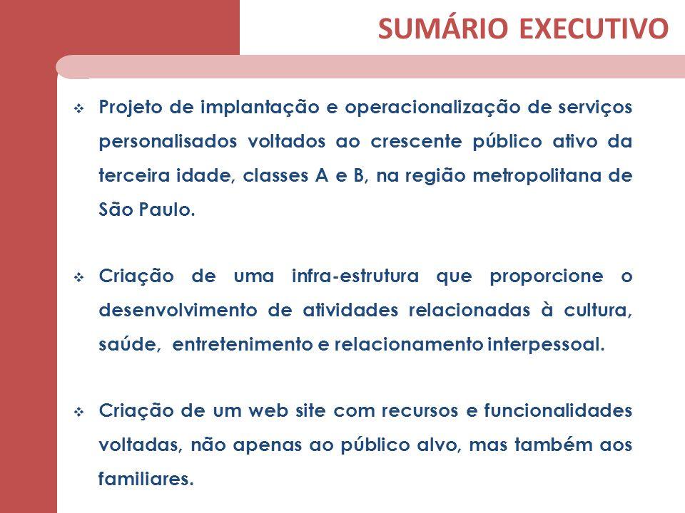 SUMÁRIO EXECUTIVO Projeto de implantação e operacionalização de serviços personalisados voltados ao crescente público ativo da terceira idade, classes