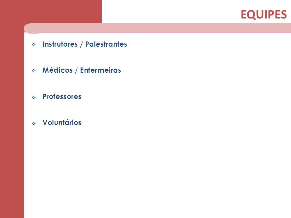 EQUIPES Instrutores / Palestrantes Médicos / Enfermeiras Professores Voluntários