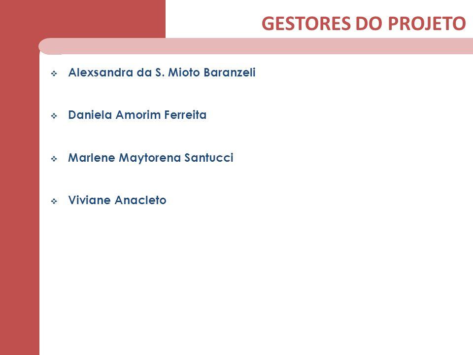 GESTORES DO PROJETO Alexsandra da S. Mioto Baranzeli Daniela Amorim Ferreita Marlene Maytorena Santucci Viviane Anacleto