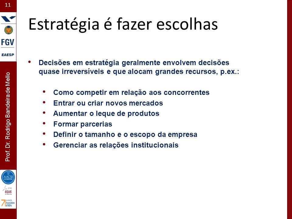 11 Prof. Dr. Rodrigo Bandeira de Mello Estratégia é fazer escolhas Decisões em estratégia geralmente envolvem decisões quase irreversíveis e que aloca