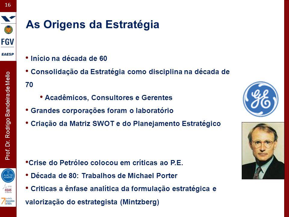 16 Prof. Dr. Rodrigo Bandeira de Mello Início na década de 60 Consolidação da Estratégia como disciplina na década de 70 Acadêmicos, Consultores e Ger
