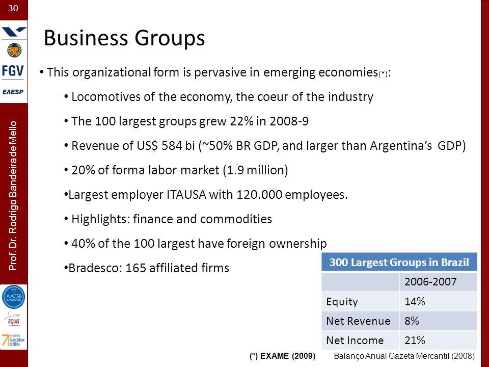 30 Prof. Dr. Rodrigo Bandeira de Mello Business Groups 300 Largest Groups in Brazil 2006-2007 Equity14% Net Revenue8% Net Income21% Balanço Anual Gaze
