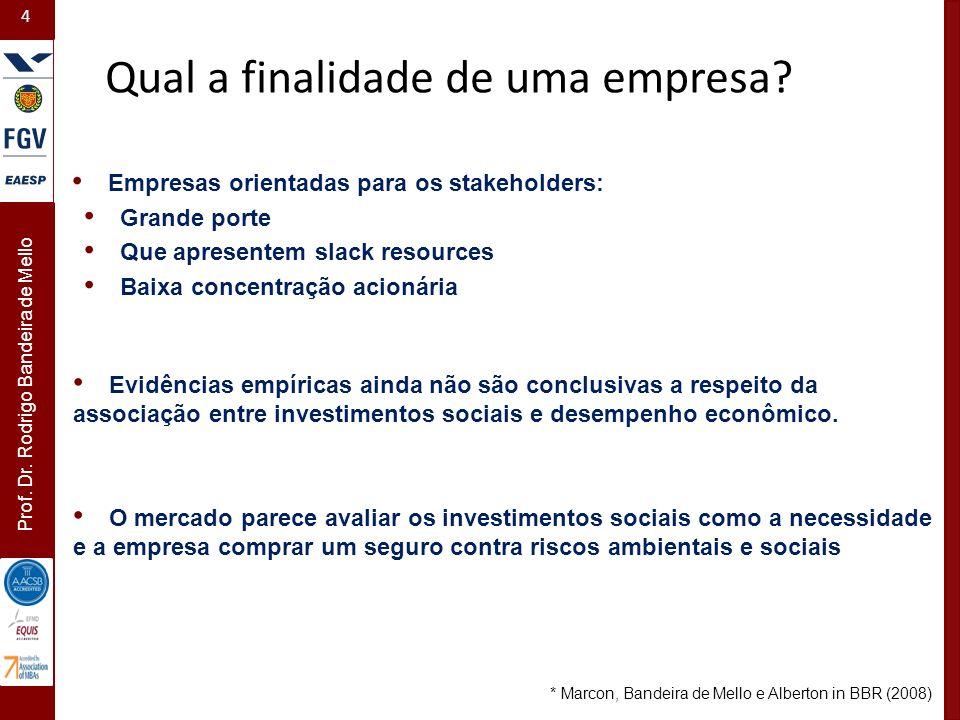4 Prof. Dr. Rodrigo Bandeira de Mello Evidências empíricas ainda não são conclusivas a respeito da associação entre investimentos sociais e desempenho