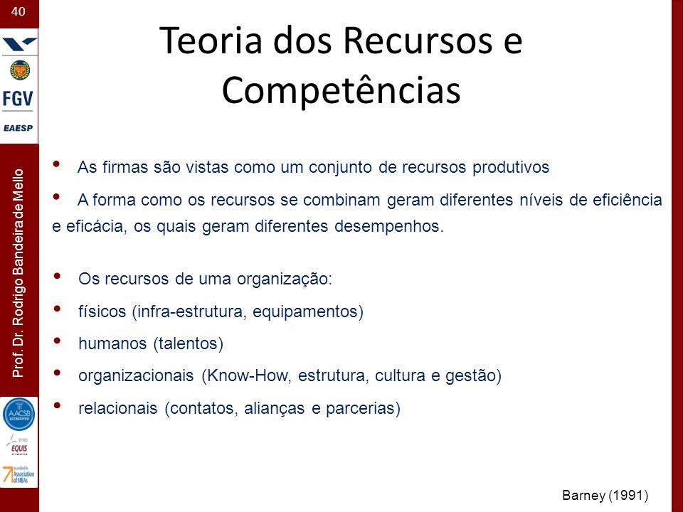 40 Prof. Dr. Rodrigo Bandeira de Mello As firmas são vistas como um conjunto de recursos produtivos A forma como os recursos se combinam geram diferen