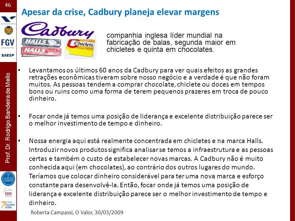 46 Prof. Dr. Rodrigo Bandeira de Mello Levantamos os últimos 60 anos da Cadbury para ver quais efeitos as grandes retrações econômicas tiveram sobre n