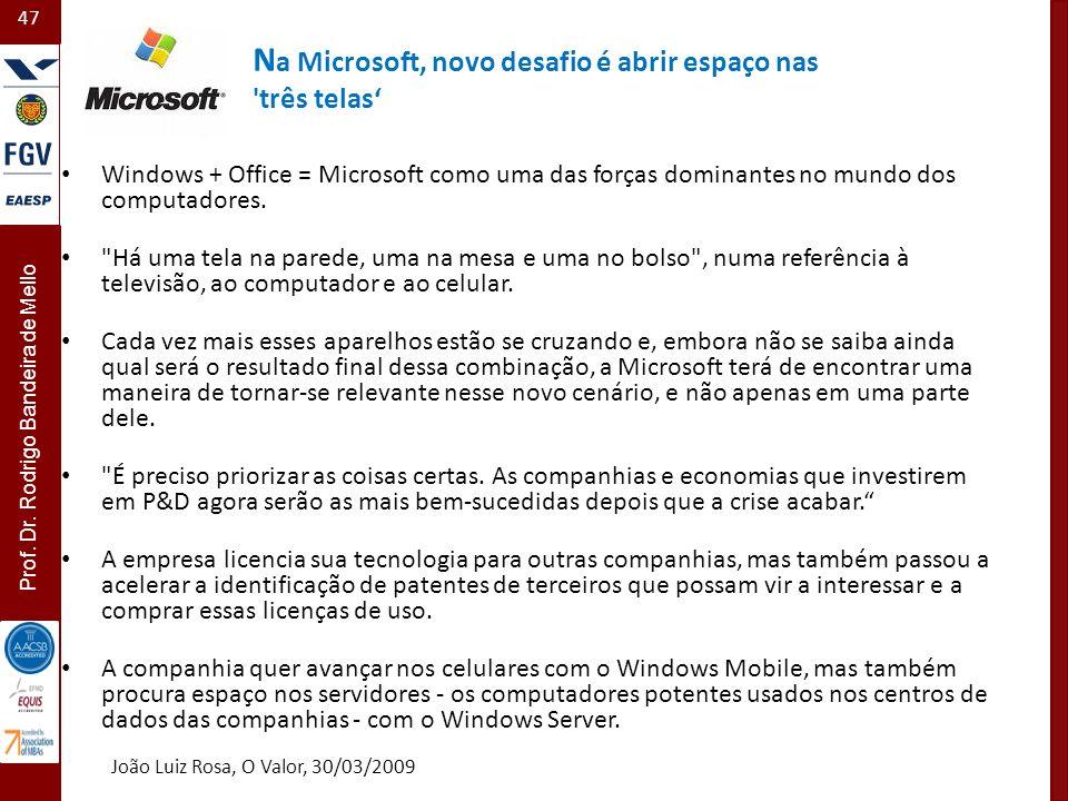 47 Prof. Dr. Rodrigo Bandeira de Mello N a Microsoft, novo desafio é abrir espaço nas 'três telas Windows + Office = Microsoft como uma das forças dom