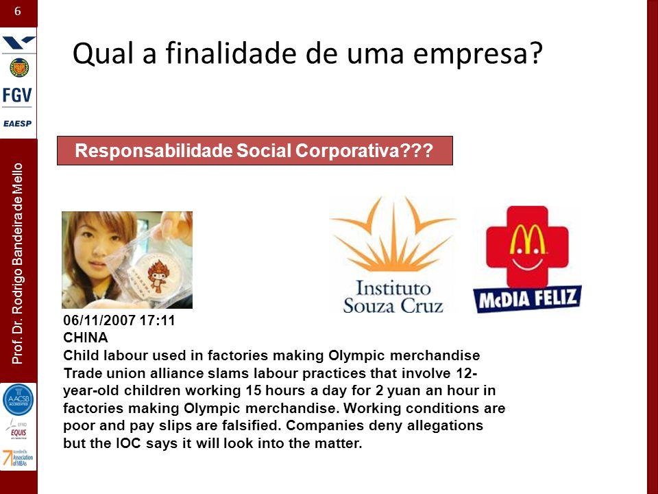 6 Prof. Dr. Rodrigo Bandeira de Mello Responsabilidade Social Corporativa??? 06/11/2007 17:11 CHINA Child labour used in factories making Olympic merc