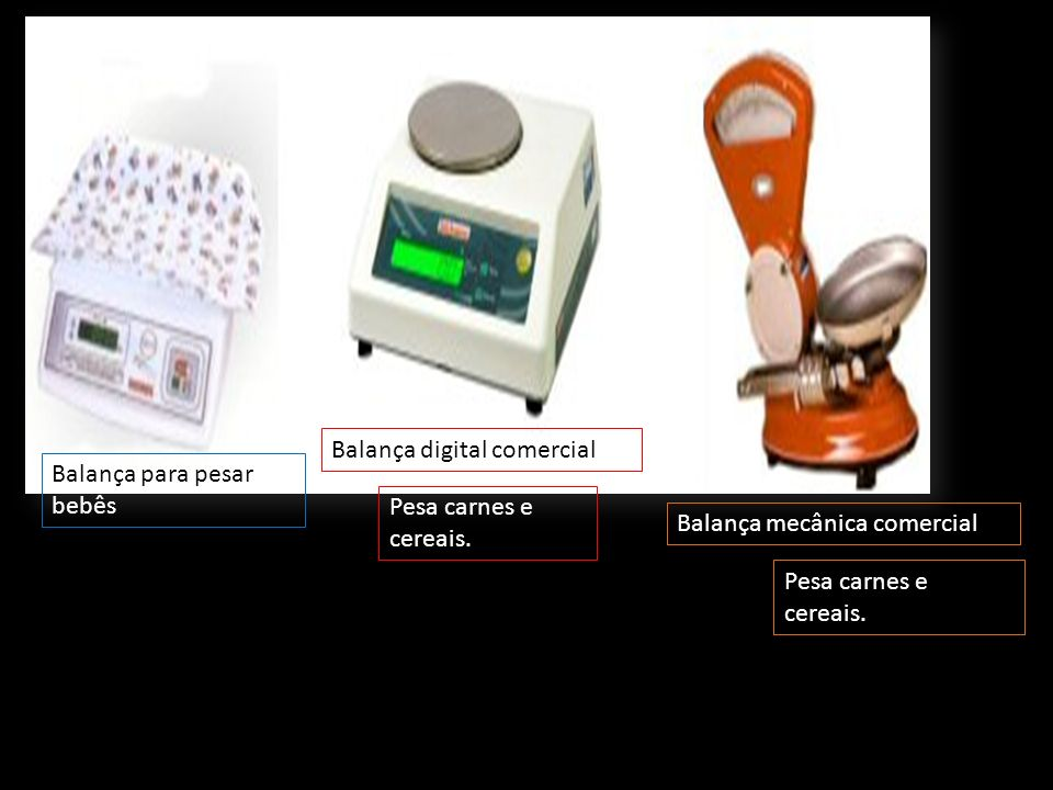 Balança de pratos Balança de precisão Báscula Pesa legumes, carnes e cereais Pesa ouro e pequenas quantidades de substâncias.