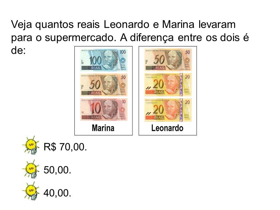 A)R$ 70,00. B)50,00. C)40,00. Veja quantos reais Leonardo e Marina levaram para o supermercado. A diferença entre os dois é de: