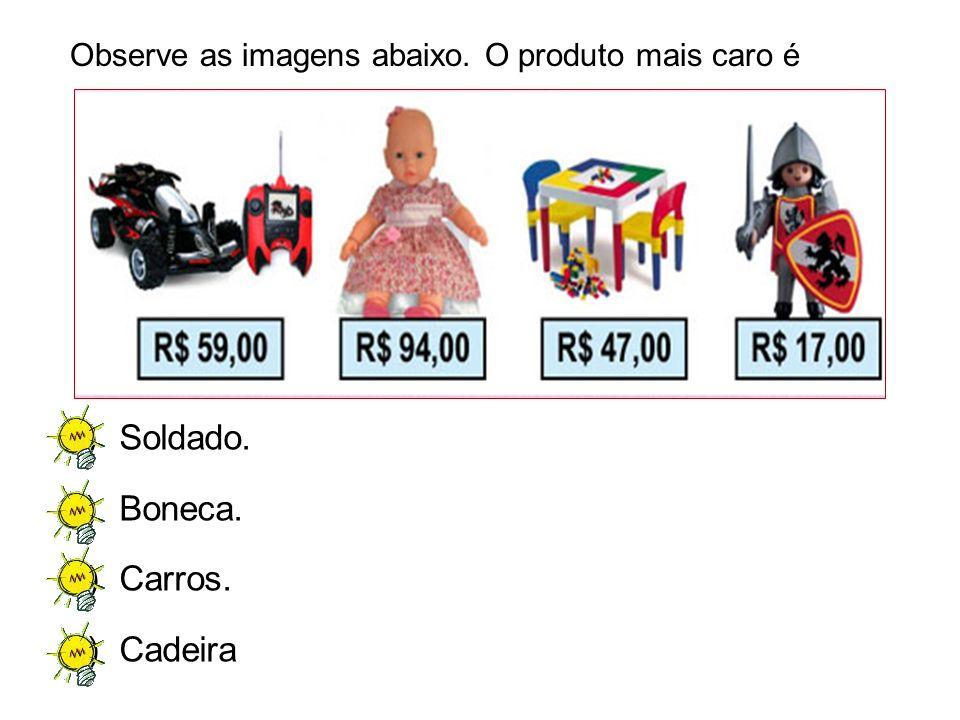 A)Soldado. B)Boneca. C)Carros. D)Cadeira Observe as imagens abaixo. O produto mais caro é