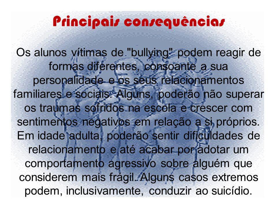Principais consequências Os alunos vítimas de