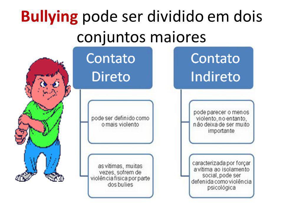 Bullying pode ser dividido em dois conjuntos maiores
