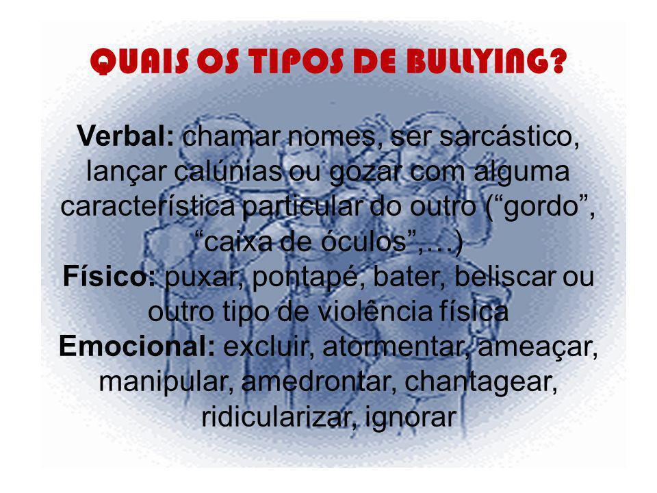 Principais consequências Os alunos vítimas de bullying podem reagir de formas diferentes, consoante a sua personalidade e os seus relacionamentos familiares e sociais.
