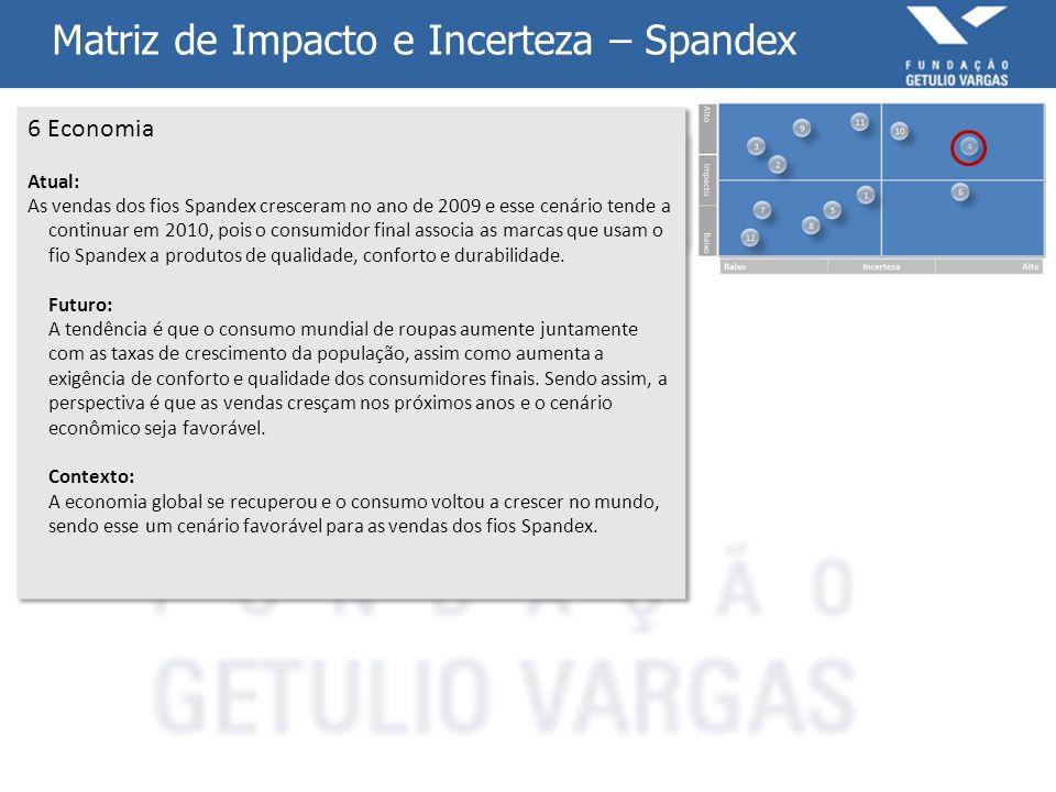 Matriz de Impacto e Incerteza – Spandex 6 Economia Atual: As vendas dos fios Spandex cresceram no ano de 2009 e esse cenário tende a continuar em 2010