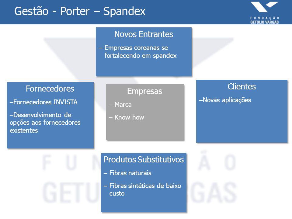 Gestão - Porter – Spandex Empresas – Marca – Know how Empresas – Marca – Know how Novos Entrantes – Empresas coreanas se fortalecendo em spandex Novos