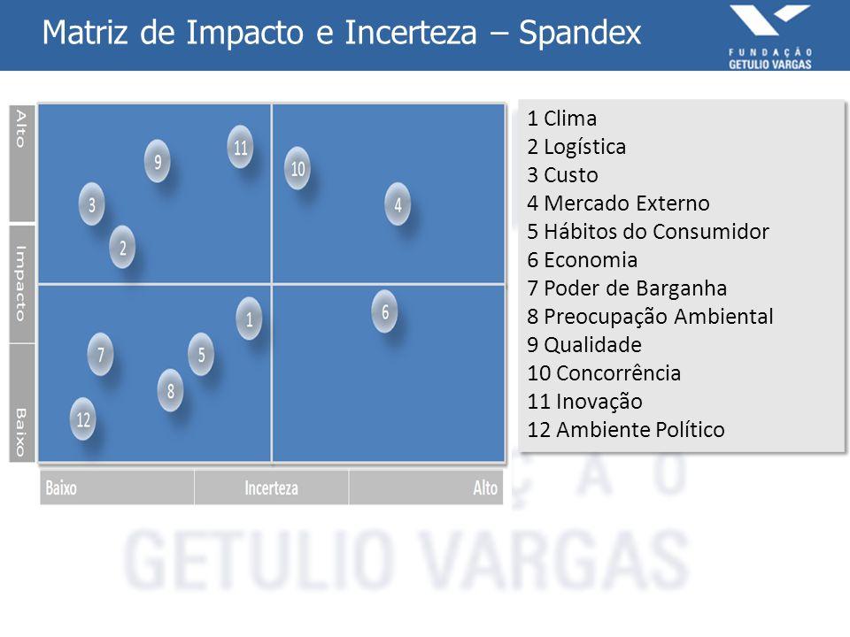 Matriz de Impacto e Incerteza – Spandex 1 Clima 2 Logística 3 Custo 4 Mercado Externo 5 Hábitos do Consumidor 6 Economia 7 Poder de Barganha 8 Preocup