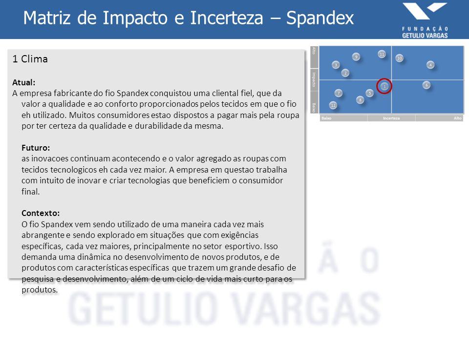 Matriz de Impacto e Incerteza – Spandex 1 Clima Atual: A empresa fabricante do fio Spandex conquistou uma cliental fiel, que da valor a qualidade e ao