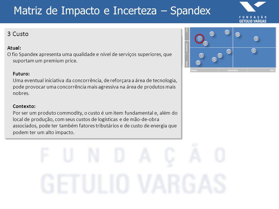 Matriz de Impacto e Incerteza – Spandex 4 Mercado Externo Atual: O fio Spandex é um produto de classe mundial, com uma base de unidades produtivas e de consumo nos cinco continentes, enquanto a concorrência está fixada primariamente na Ásia.