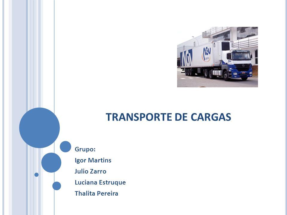 TRANSPORTE DE CARGAS Grupo: Igor Martins Julio Zarro Luciana Estruque Thalita Pereira