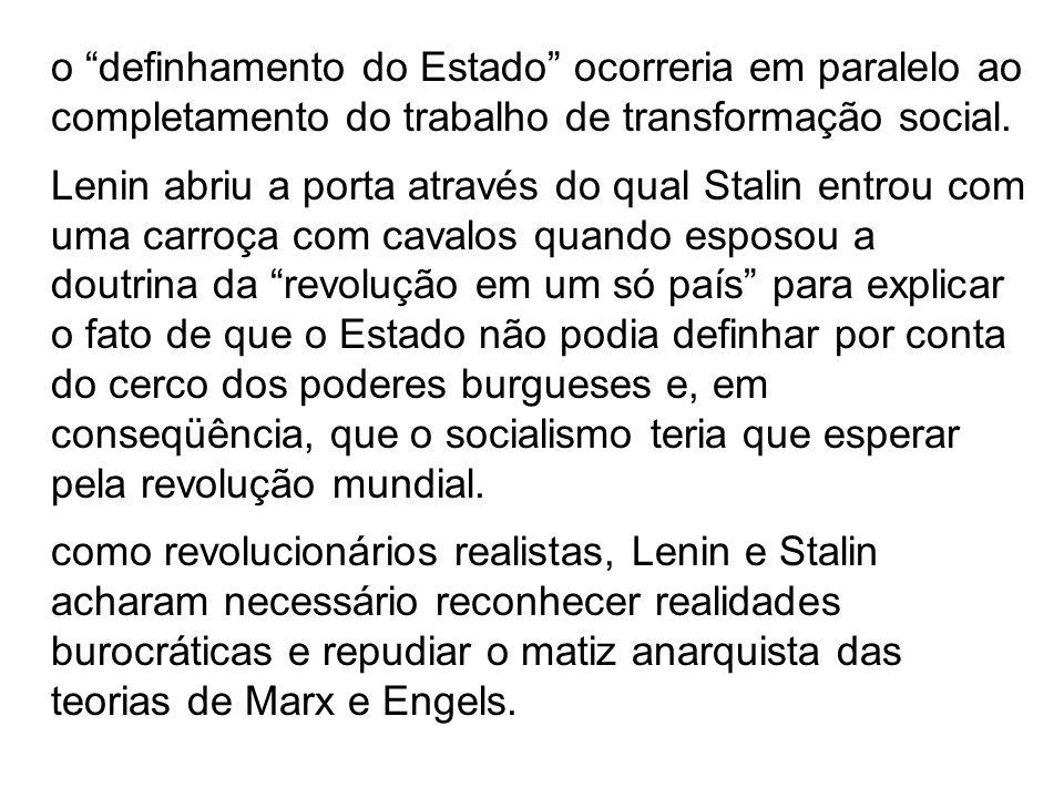 LENIN (1917): O proletariado necessita do poder do Estado, da organização centralizada da força, da organização da violência, tanto para esmagar a res