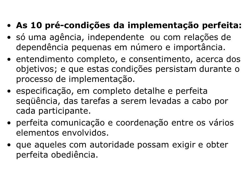 As 10 pré-condições da implementação perfeita: meio externo à agência não impõe restrições severas. o tempo é adequado e os recursos estão à disposiçã