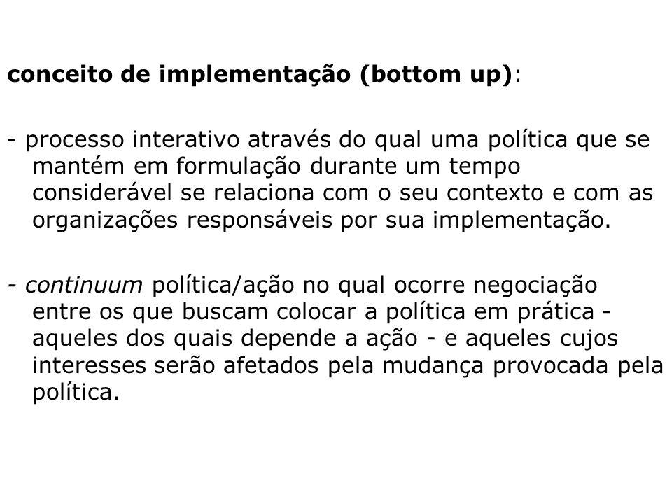 2. relativas às relações entre a formulação e a implementação: política: uma instância e um compromisso que se mantém e renova ao longo da implementaç