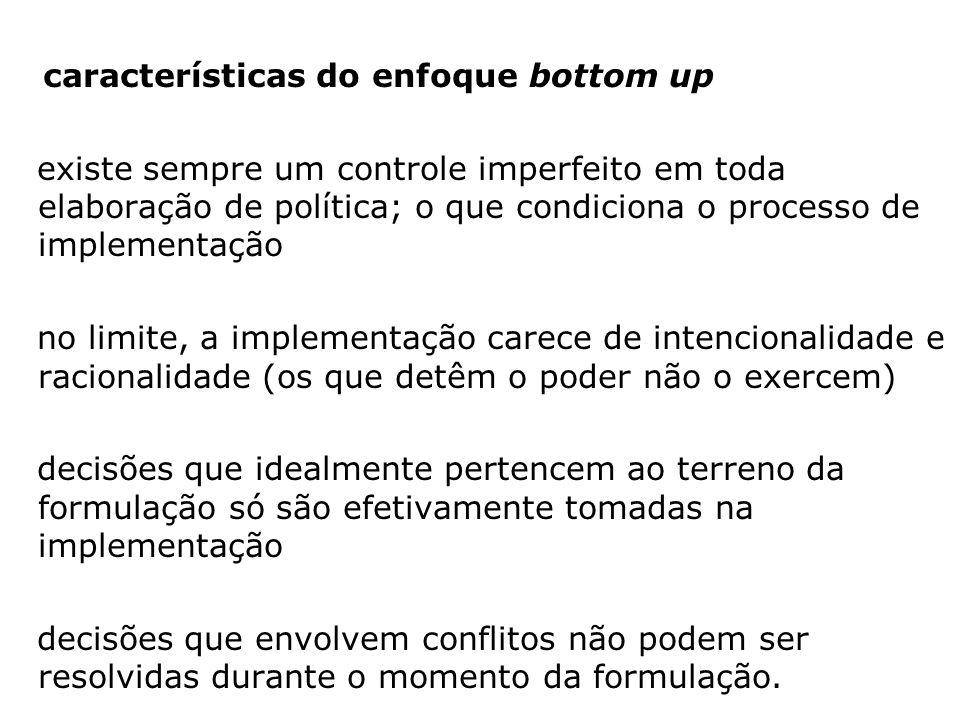 conceito de implementação (bottom up): - processo interativo através do qual uma política que se mantém em formulação durante um tempo considerável se