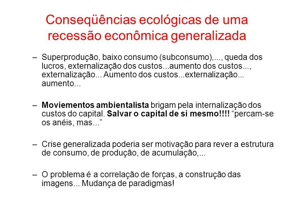 Conseqüências ecológicas de uma recessão econômica generalizada –Superprodução, baixo consumo (subconsumo),..., queda dos lucros, externalização dos c