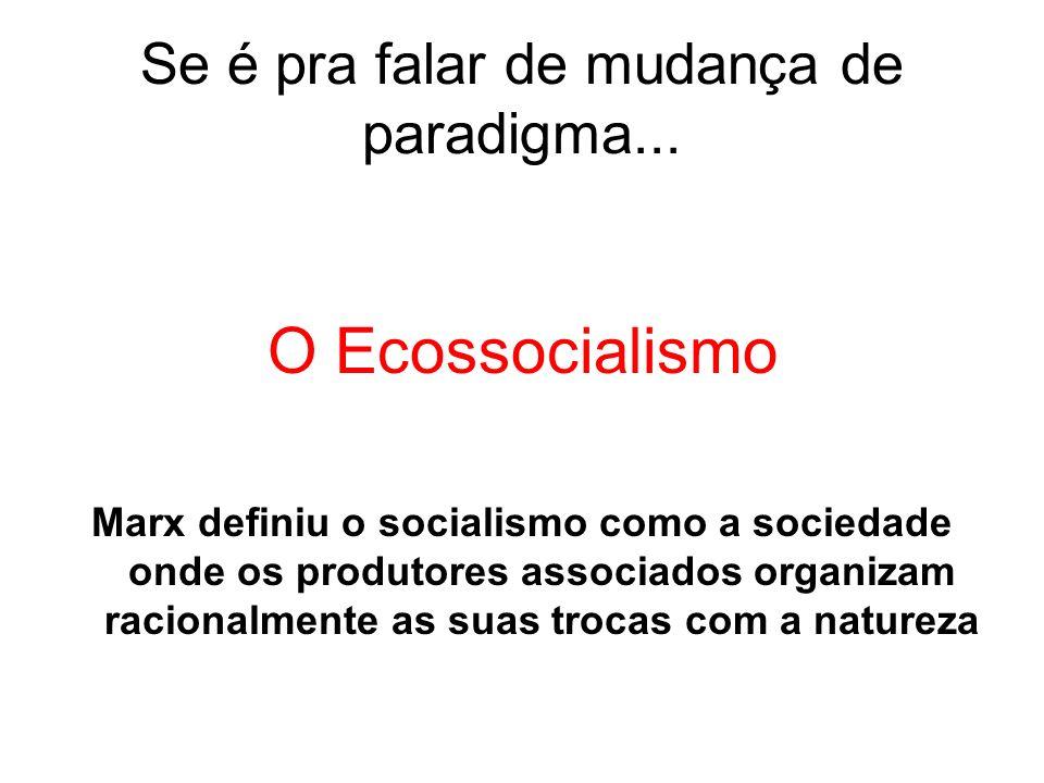 Se é pra falar de mudança de paradigma... O Ecossocialismo Marx definiu o socialismo como a sociedade onde os produtores associados organizam racional
