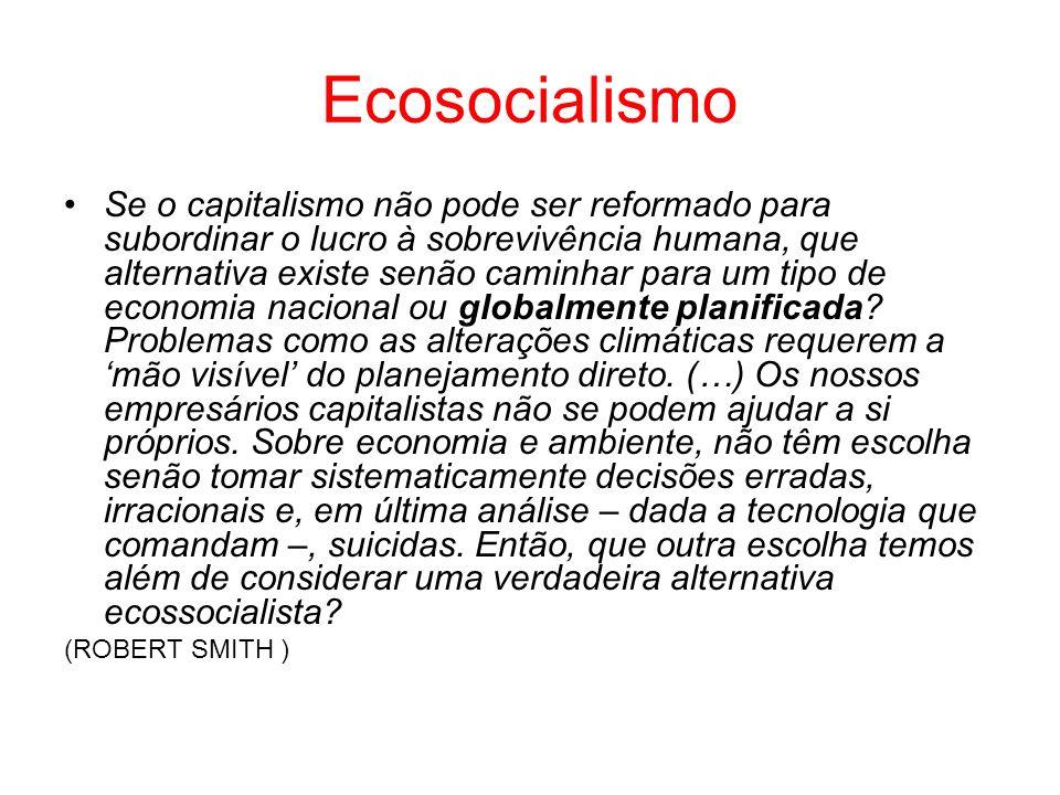Ecosocialismo Se o capitalismo não pode ser reformado para subordinar o lucro à sobrevivência humana, que alternativa existe senão caminhar para um ti