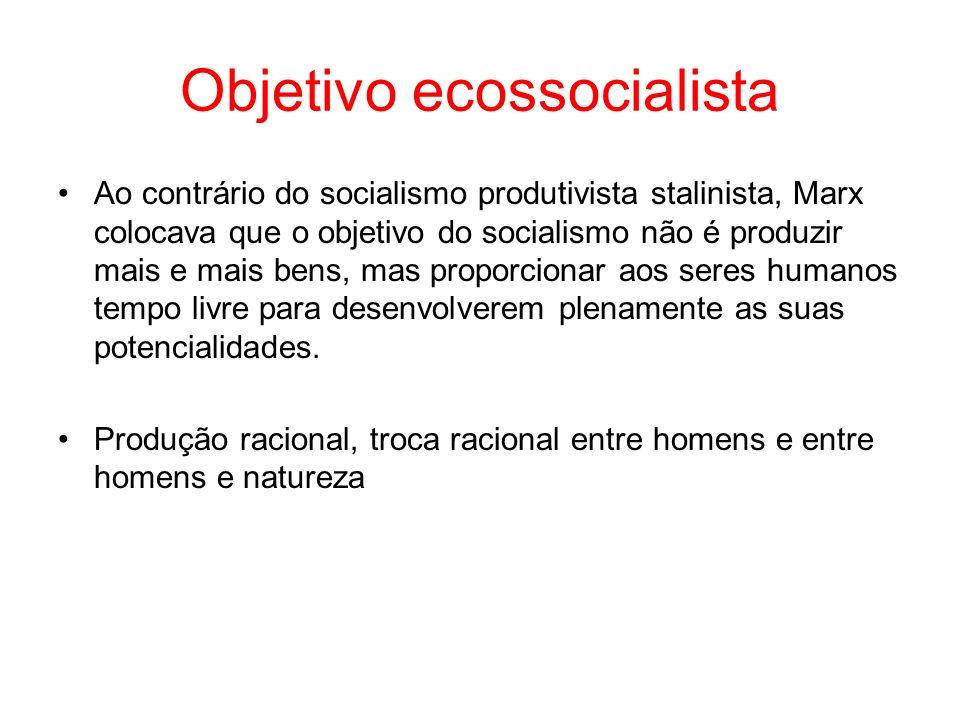 Objetivo ecossocialista Ao contrário do socialismo produtivista stalinista, Marx colocava que o objetivo do socialismo não é produzir mais e mais bens