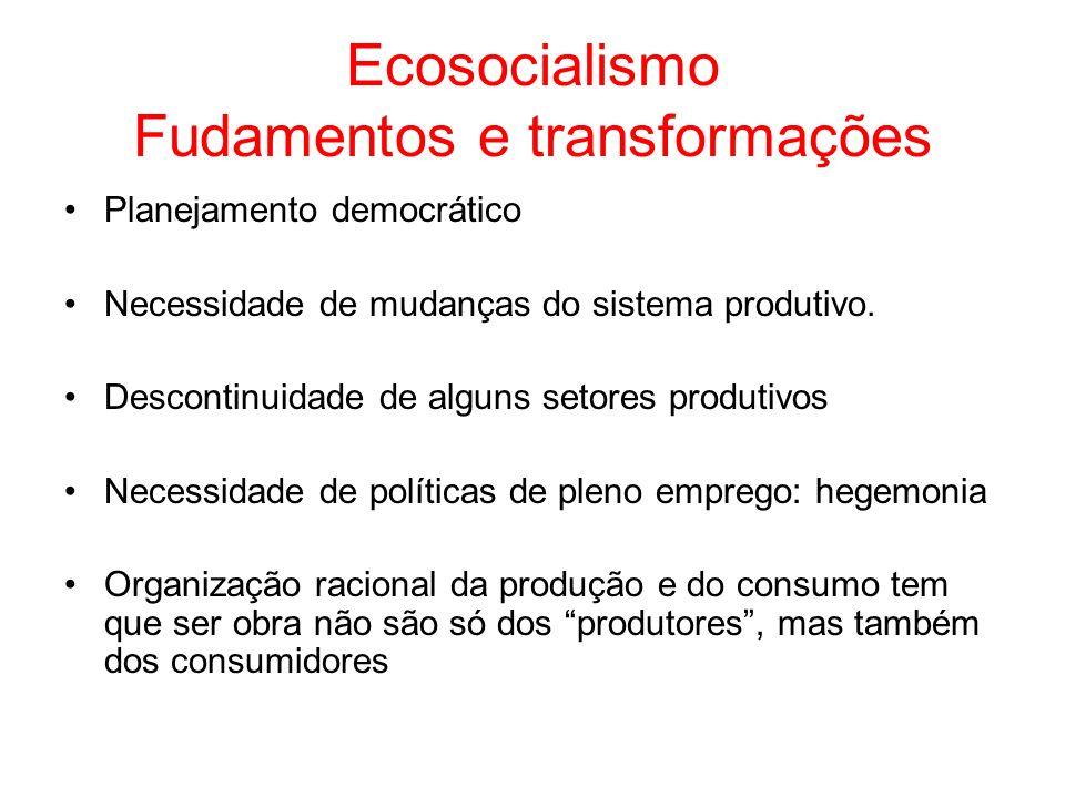 Ecosocialismo Fudamentos e transformações Planejamento democrático Necessidade de mudanças do sistema produtivo. Descontinuidade de alguns setores pro